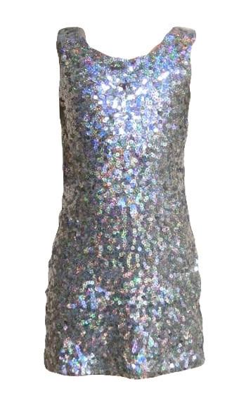Erg mooi effen zilveren/grijs glitterjurkje maat 92 t/m 116