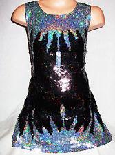 Glitter pailletten jurkje zwart met ijspegels maat 92 t/m 116