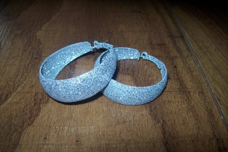 Glitteroorbellen zilver