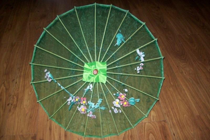 Groene bamboe handbeschilderde parasol 70 cm