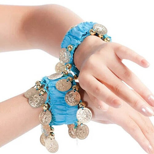 Setje polsbandjes blauw met gouden muntjes