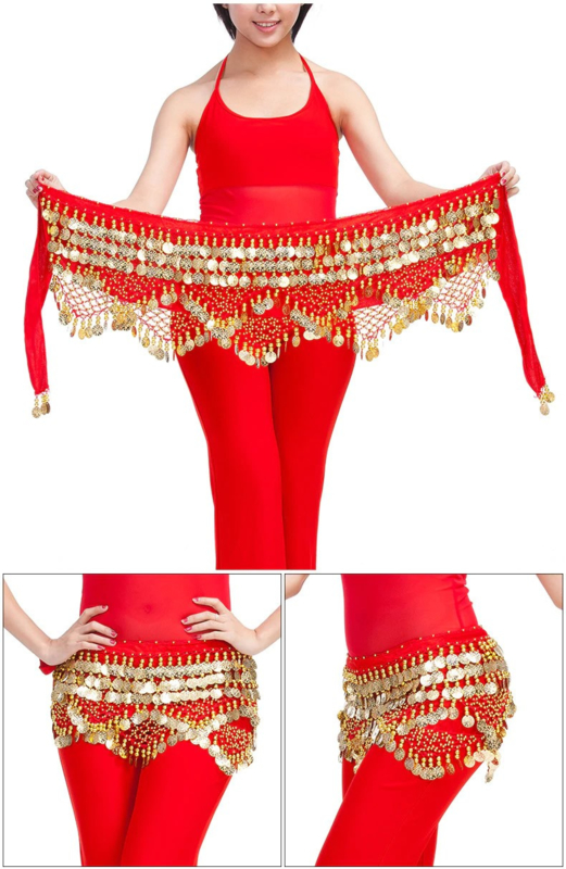 Schitterende fluwelen heupsjaal met heel veel rinkelende gouden kraaltjes en muntjes rood