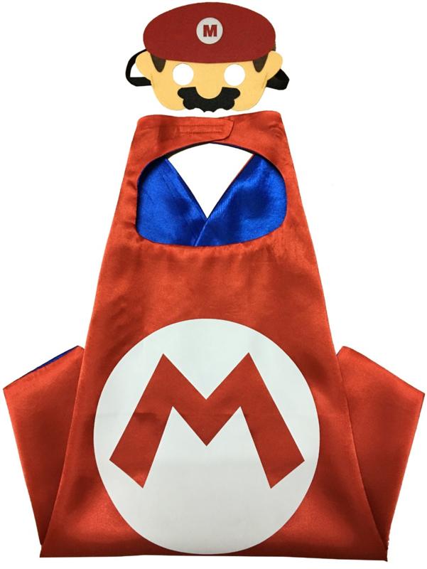 Mario Bros cape + masker kind 3-8 jaar