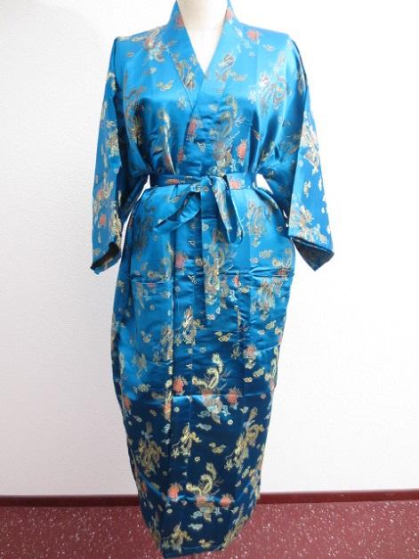 Schitterende lange turquoise brokaat unisex kimono met draken one size