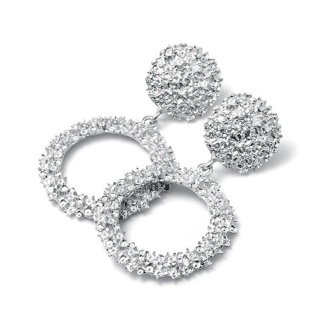 Zilveren chunky ronde statement oorbellen 5,5 cm