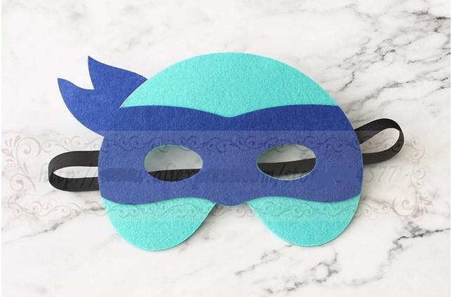Geweldig leuk en stevig masker ninja turtle van vilt blauw