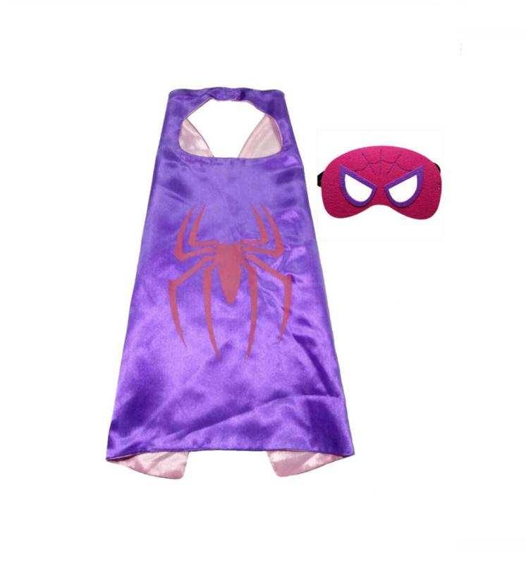 Spidergirl cape + masker kind 3-8 jaar