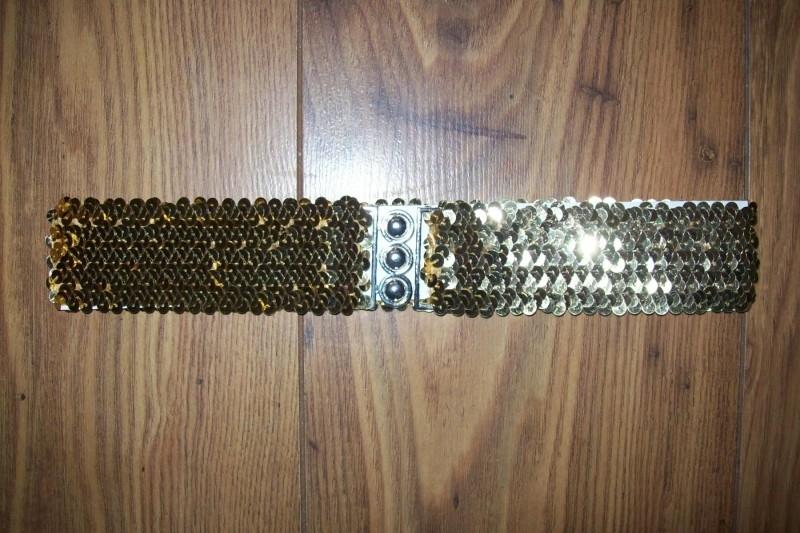 Glitterrriem elastiek goud