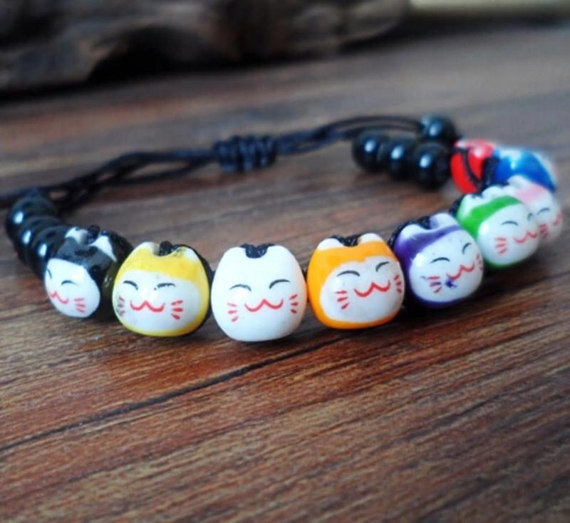 """Verstelbaar kralenarmbandje """"Lucky cat"""" zwart"""