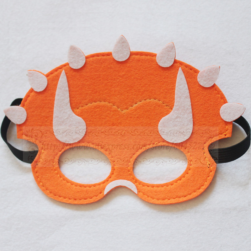Geweldig leuk en stevig dino masker van vilt oranje