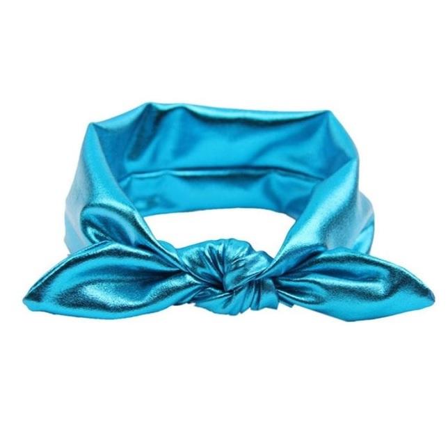 Superleuke haarband met strik glans turquoise kindermaat