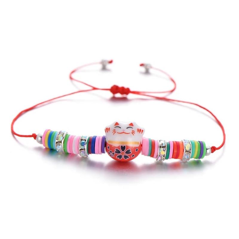 """Schattig kleurrijk verstelbaar armbandje """"Lucky cat""""  rood"""