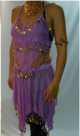 Leuke lila Oosterse buikdansset topje met puntenrok met gouden muntjes