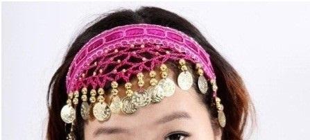 Haarband fuchsia met gouden muntjes