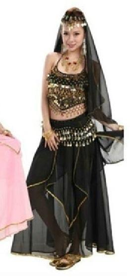 Prachtige 4-delige Oosterse set met lange rok zwart