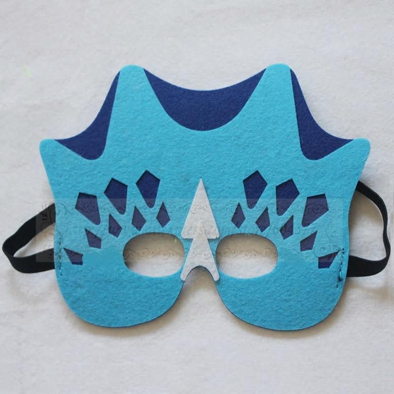 Geweldig leuk en stevig dino masker van vilt blauw