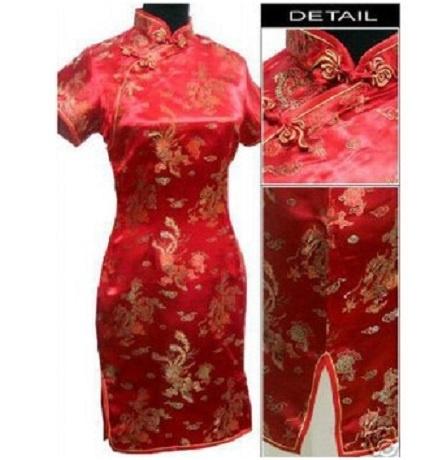 Prachtig rood chinees damesjurkje draken en phoenix motief
