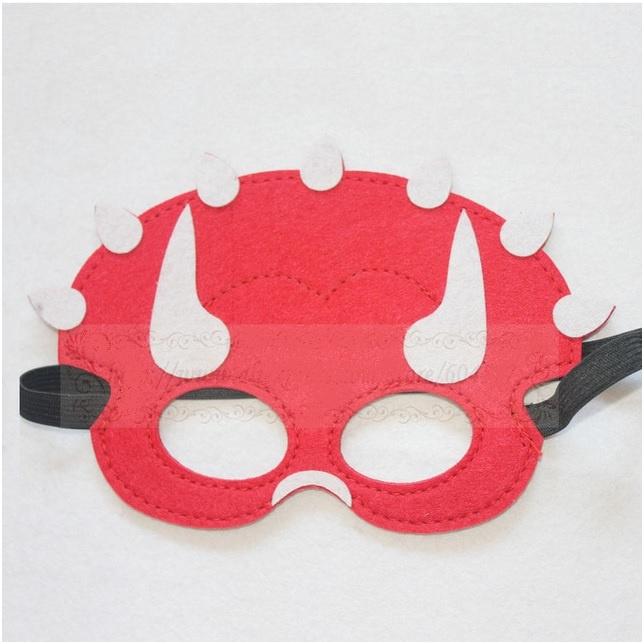 Geweldig leuk en stevig dino masker van vilt rood