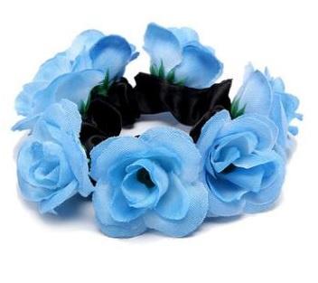 Scrunchie met roosjes blauw