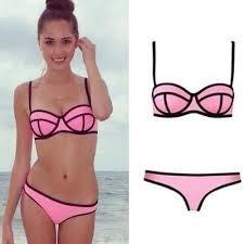 Super black lined triangle bikini maat 36/38 roze