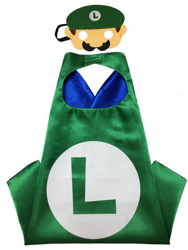 Luigi cape + masker kind 3-8 jaar