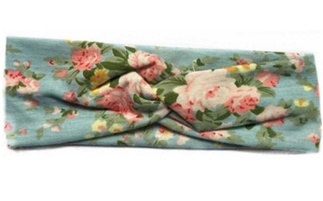 Superleuke haarband lichtblauw met bloemetjes