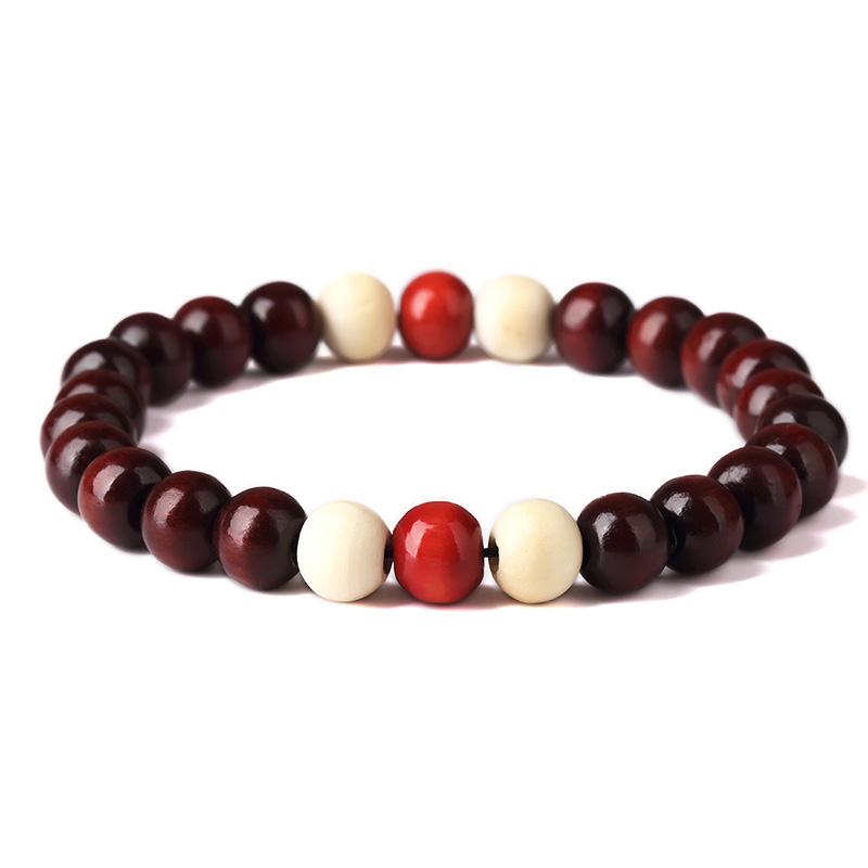 Mala gebedsarmband sandalhouten kralen donkerbruin-wit-rood
