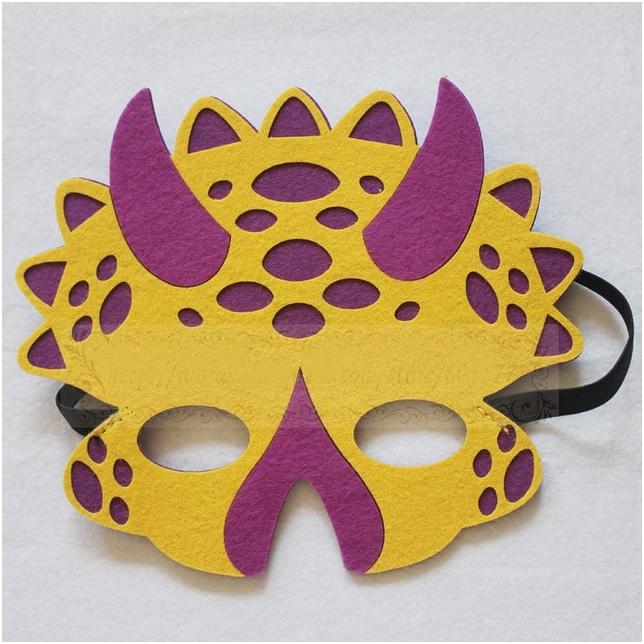 Geweldig leuk en stevig dino masker van vilt geel/paars