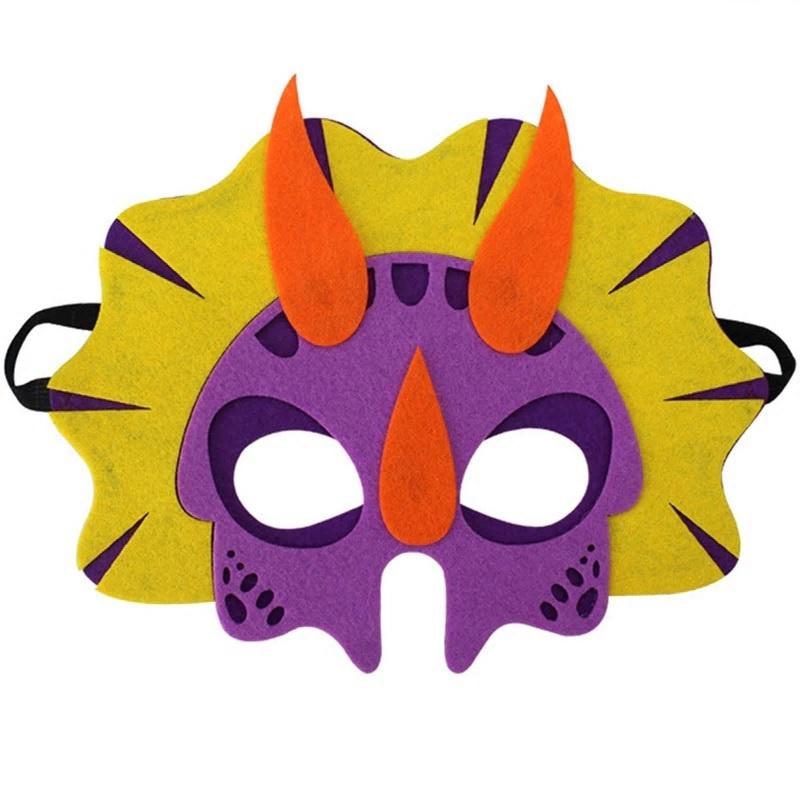 Geweldig leuk en stevig dino masker van vilt paars/geel