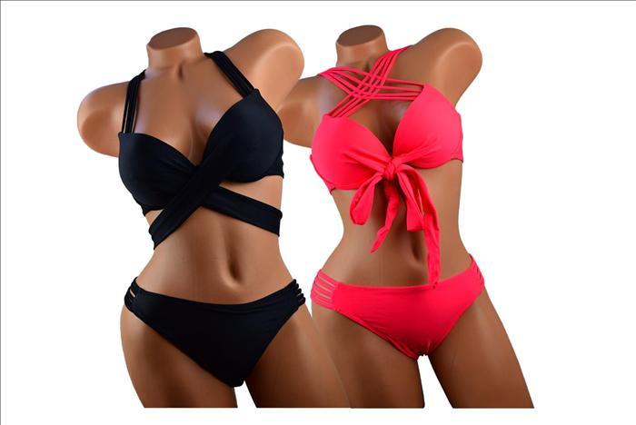 Leuke zwarte bikini maat 38/40 met push-up top op meerdere manieren te dragen!