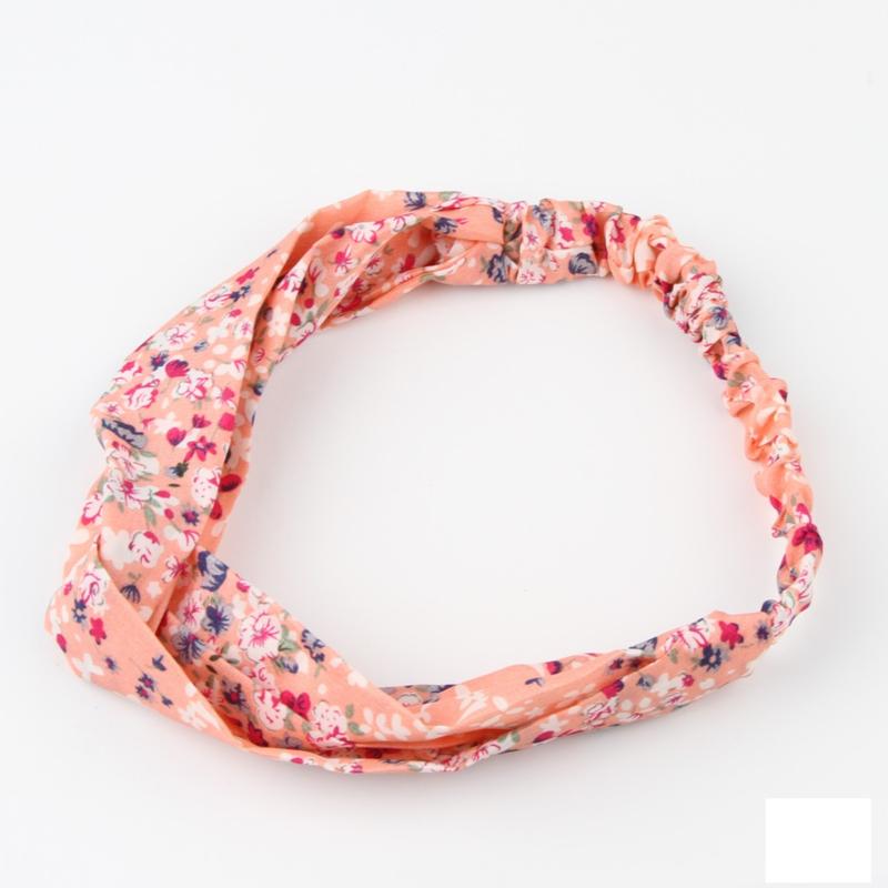 Superleuke knoop haarband met elastiek  zalmroze met bloemetjes