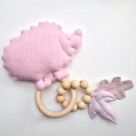 Bijtring & Rammelaar hedgehog pink ( te personaliseren )