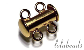 3 stuks Gold filled slot 2 rij ca. 16mm