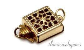 6 stuks Gold filled filigrain bakslotje ca. 11x9x4.5mm