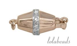 Rosé gouden bakslotje met diamant 14krt. goud ca. 11x7mm