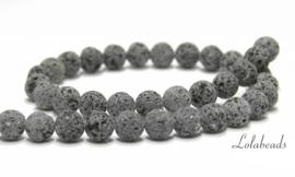 10 strengen Lavasteen kralen antraciet grijs rond ca. 10mm