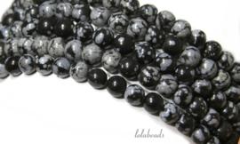10 strengen Snowflake Obsidiaan kralen rond ca. 8mm