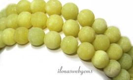 10 strengen Lemon Jade kralen mat rond ca. 8mm