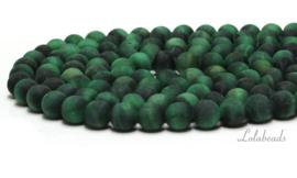 10 strengen Tijgeroog kralen mat  groen rond ca. 8mm