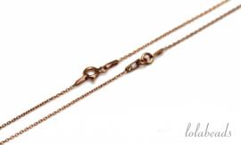4 stuks Rosé Vermeil ketting met slotje 2-delig ca. 1mm / 35cm