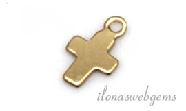 12 stuks Gold filled bedeltje kruisje ca. 7x4.5mm