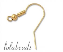 1 paar oorbelhaakjes 14 krt. goud ca. 21,5mm