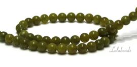 10 strengen Olijf Jade rond ca. 6mm (78)
