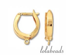 1 paar oorbelhaakjes 14 krt. goud ca.14,75x12,5mm