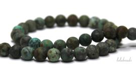 10 strengen African Turquoise mat rond ca. 8mm
