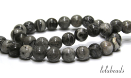 10 strengen grey crazy Agaat kralen rond ca. 10mm