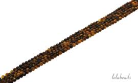 10 strengen Tijgeroog kralen rond ca. 2mm