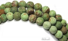10 strengen Groene Opaal kralen mat rond ca. 8.5mm (1.13)