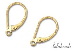1 paar oorbelhaakjes 14 krt. goud ca.16x9,75mm