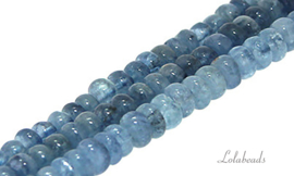 10 strengen Aquamarijn kralen rondel ca. 6.5x4mm